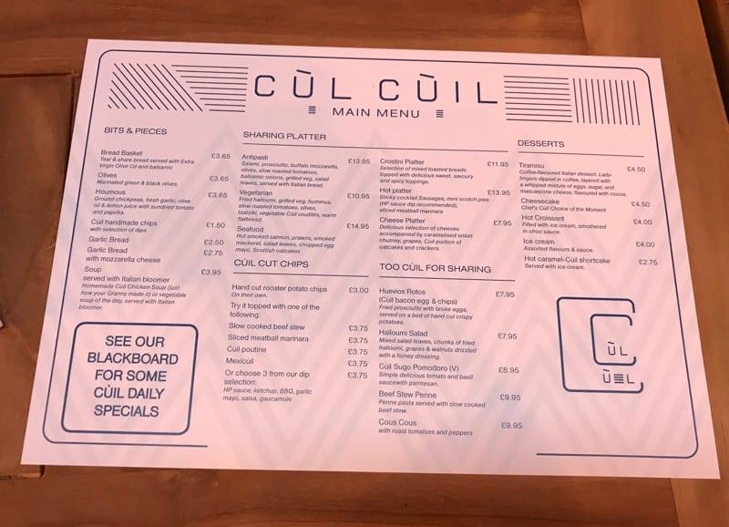 Cùl cuill Menu glasgow bar dining