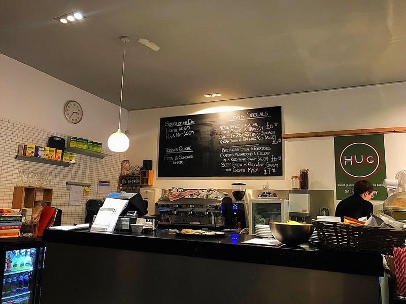 Hug Shawlands cafe menu