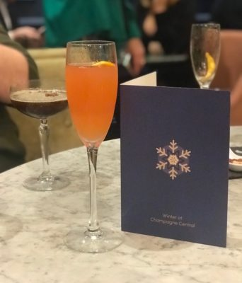 Pink 75 Winter cocktail menu champagne central