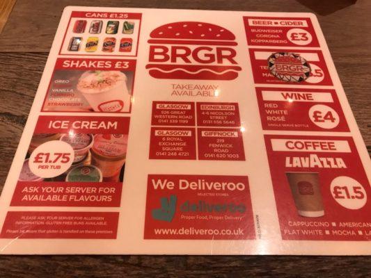 BRGR Royal exchange Square glasgow Menu