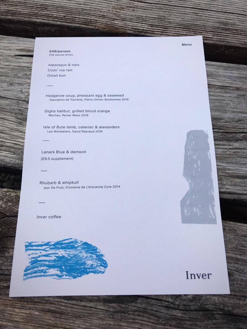 Menu Inver restaurant Strachur Argyll scotland