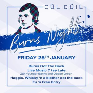Cul Cuil glasgow Burns night