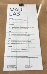 mad lab acid bar swg3 menu