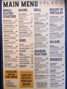 Cúl Cúil new menu