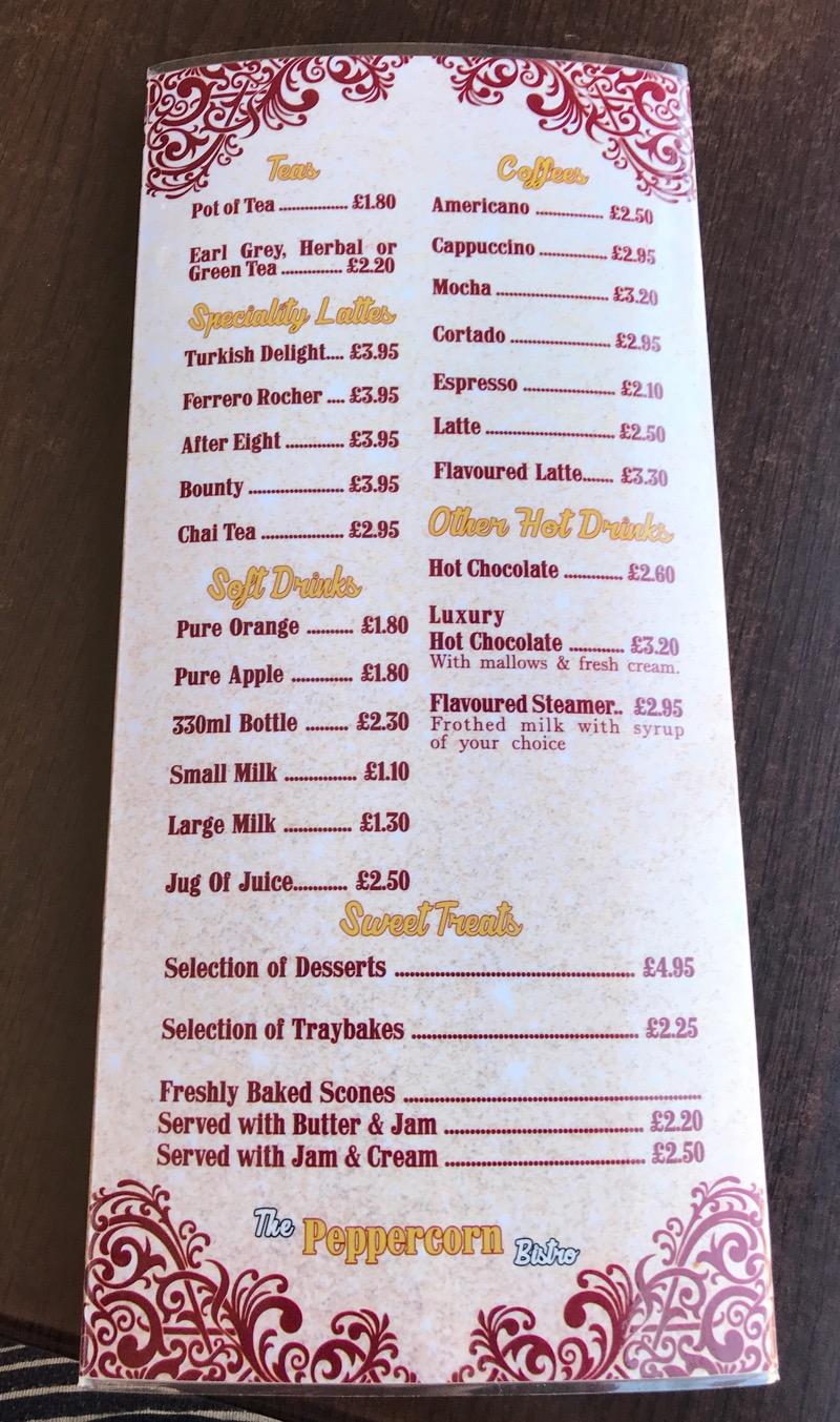 The peppercorn bistro comber menu