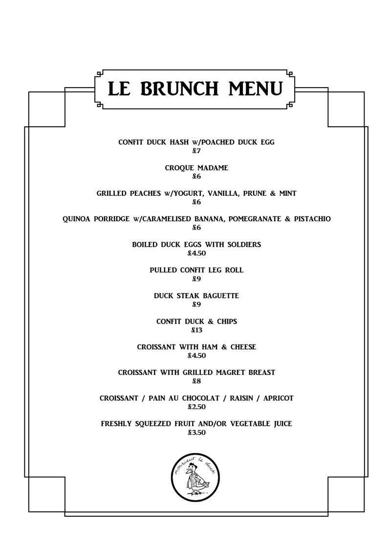 Monsieur le duck brunch menu London