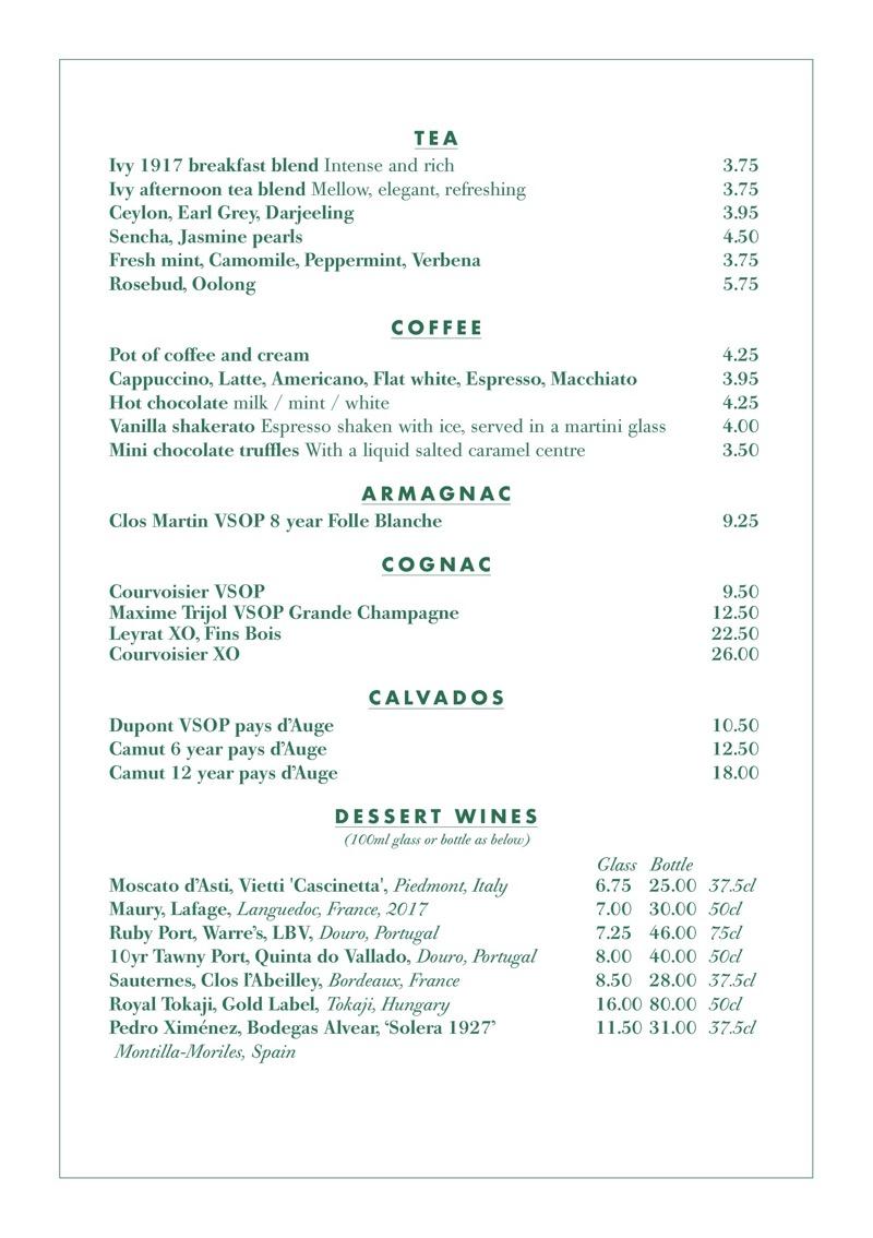 The Ivy glasgow Drinks menu