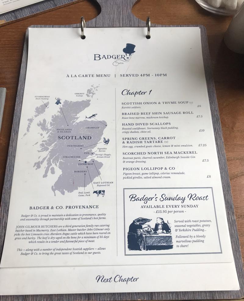 Badger and co Edinburgh menu