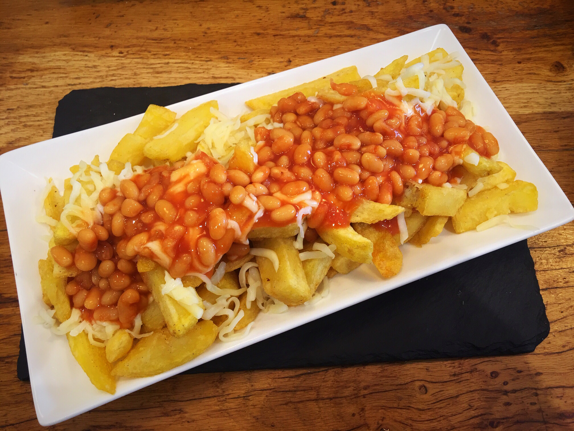 Quinn's Fish cafe comber Chips cheese beans cheese beanos