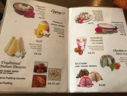 Bombay Blues hope street Glasgow foodie explorers menu