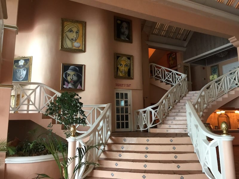 Staircase with portraits interior