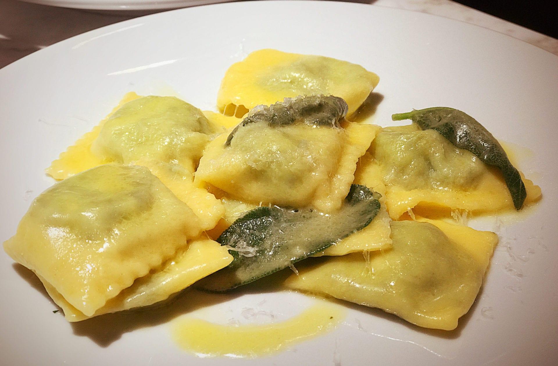 Spinach and ricotta ravioli with sage butter (Lazio) Fresh pasta sugo Glasgow