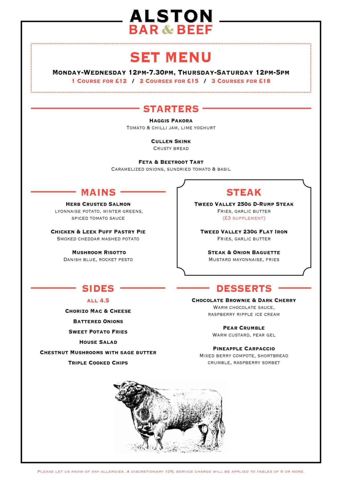 Alston bar and beef Glasgow set menu