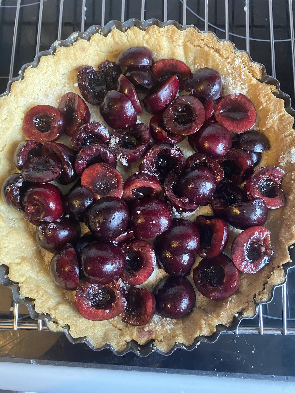 add cherries to cherry tart