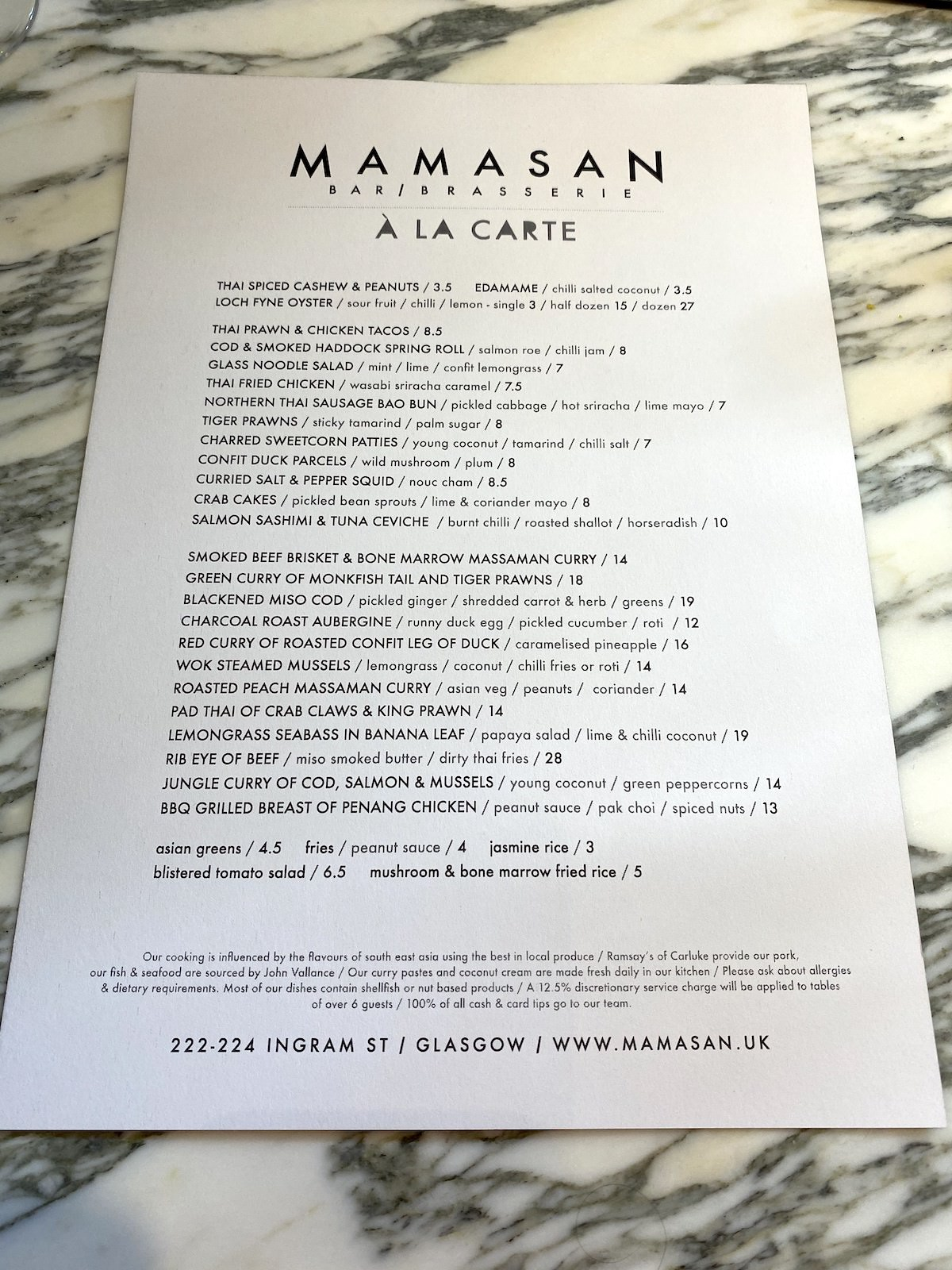 mamasan glasgow menu