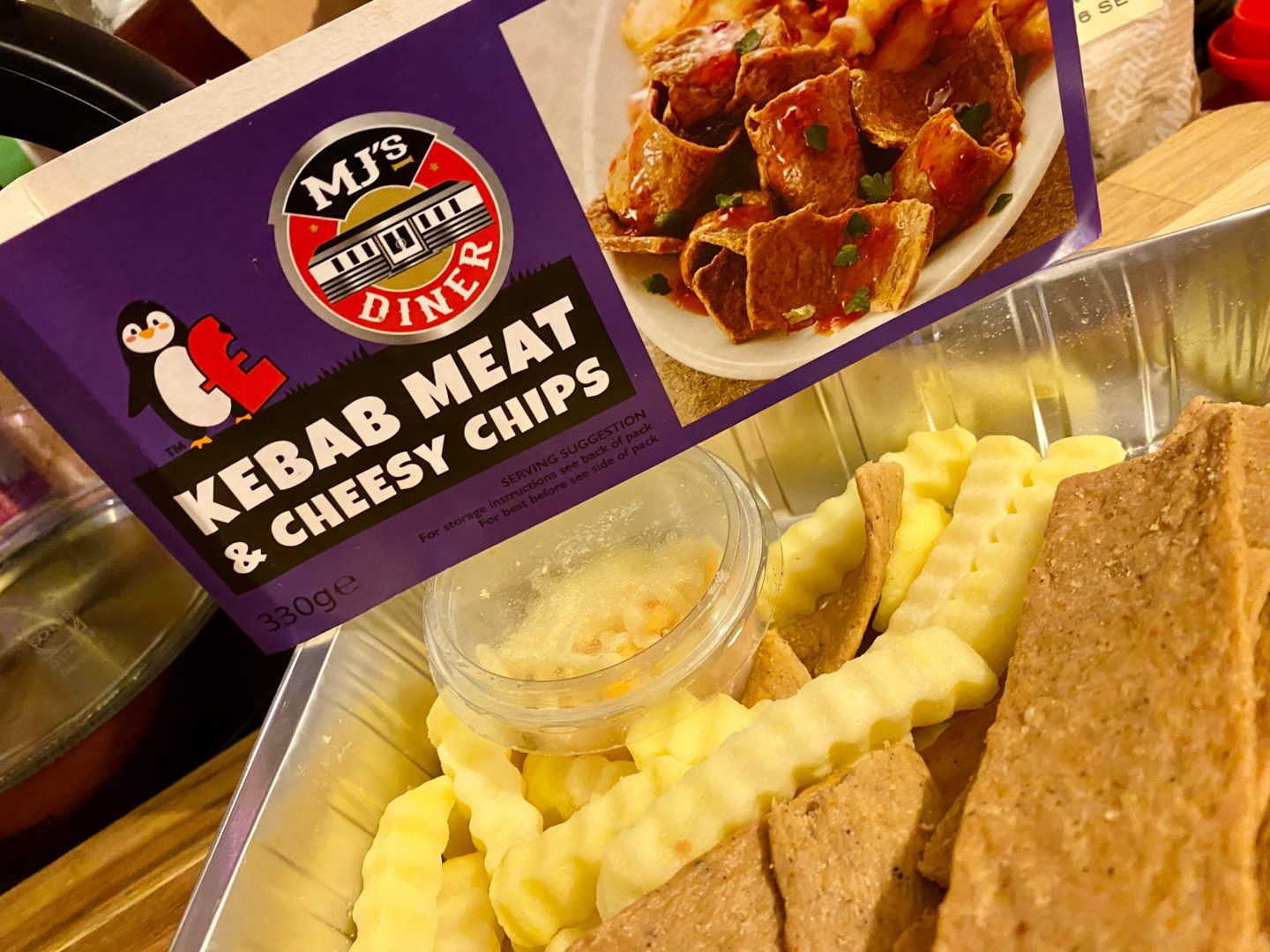 Kebab meat and cheesy chips before cooking