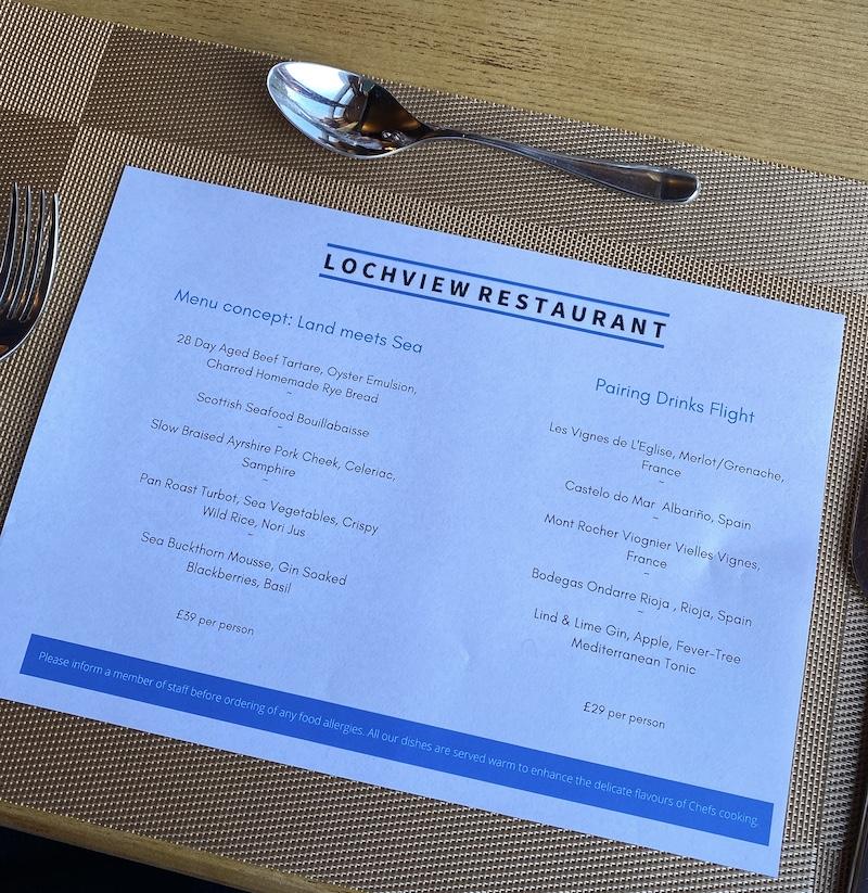 achray house lochview restaurant menu