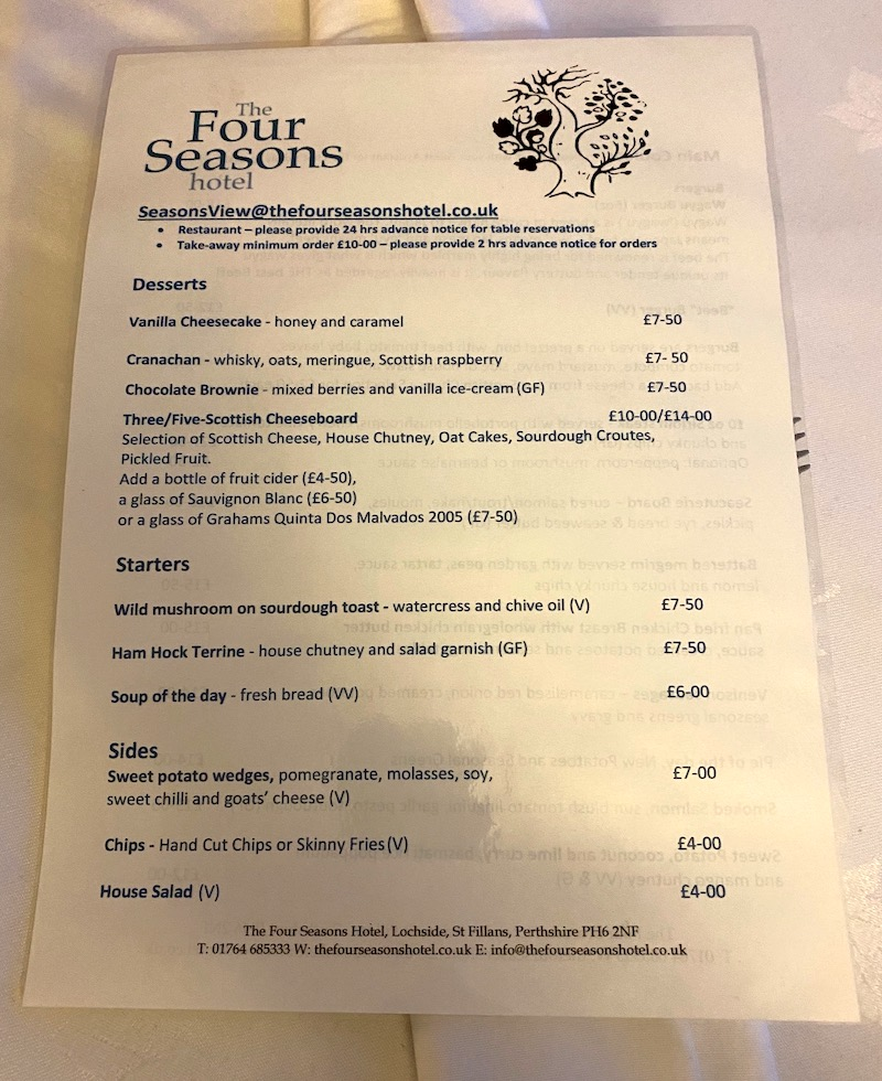 The Four Seasons starters and desserts