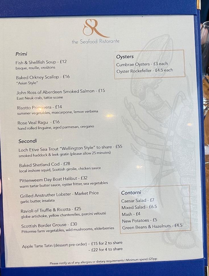 the seafood ristorante menu