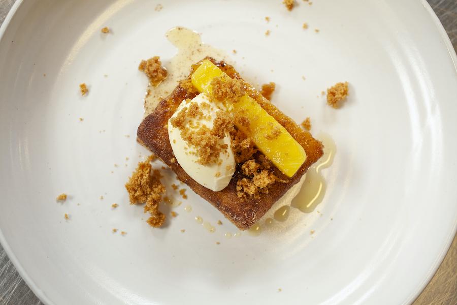 Brioche 'pain perdu', vanilla, cinnamon, caramelised pineapple & clotted cream.