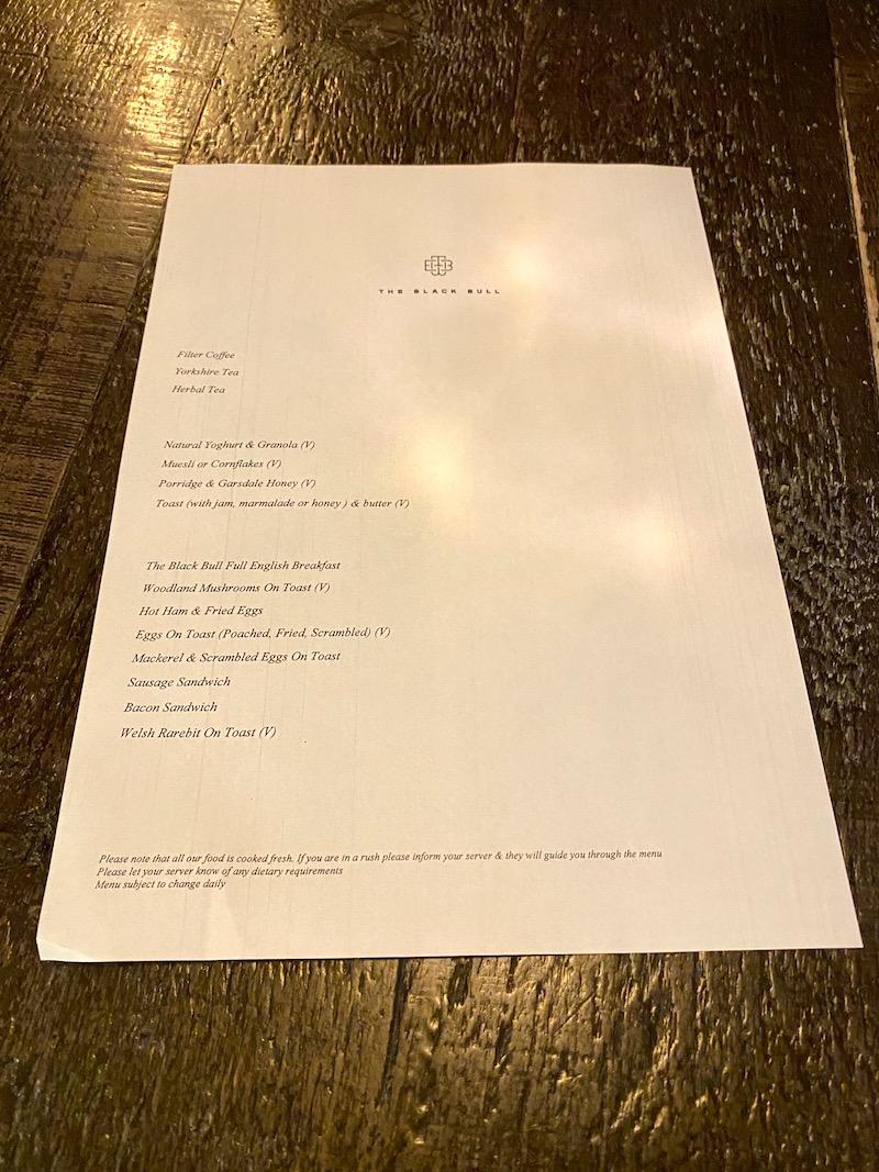 the black bull breakfast menu