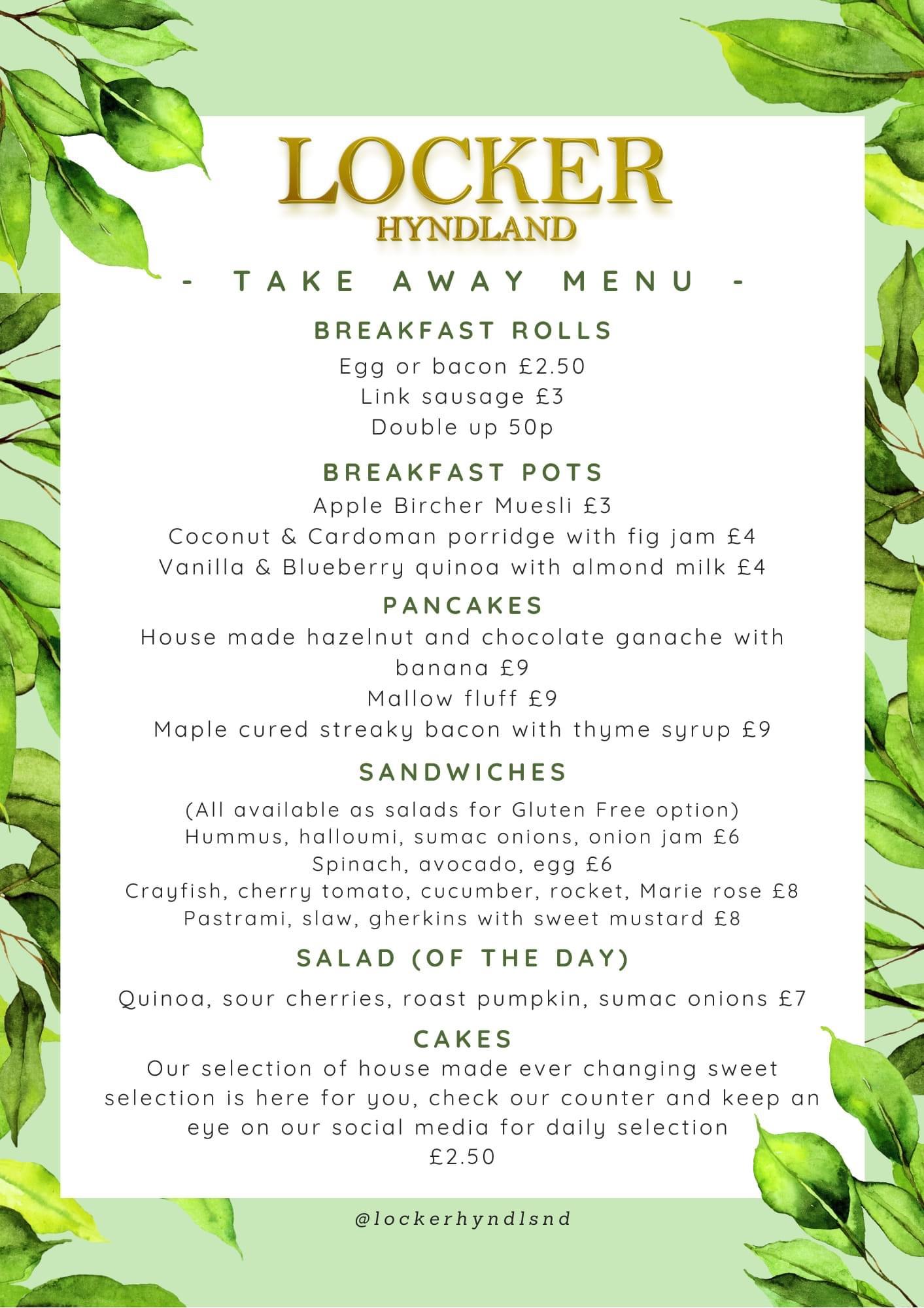 Locker Hyndland takeaway menu