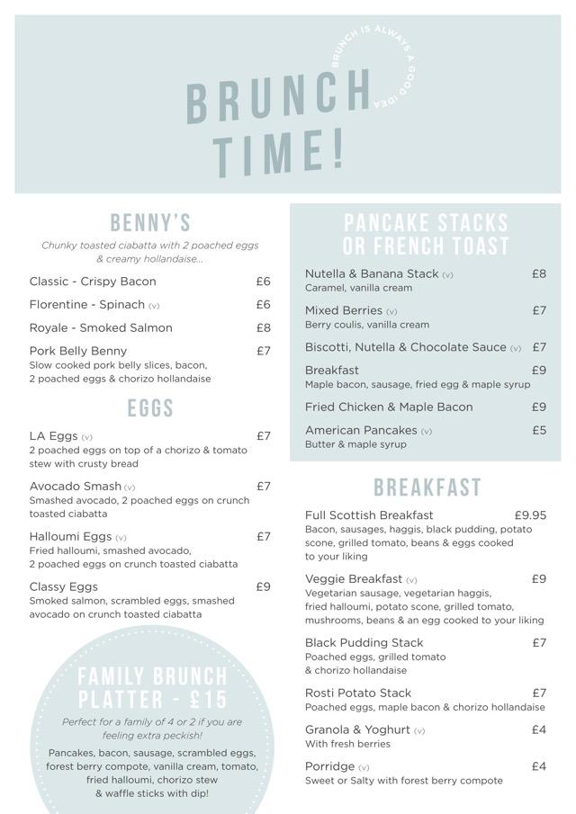 Brunch menu Lynnhurst hotel