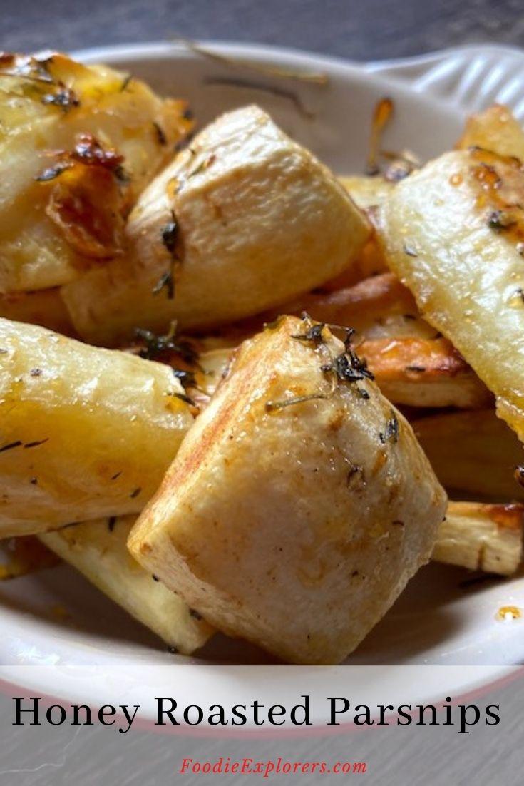 honey roasted parsnips pinterest pin
