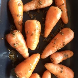 Roasted carrots with a warm orange and honey dressing