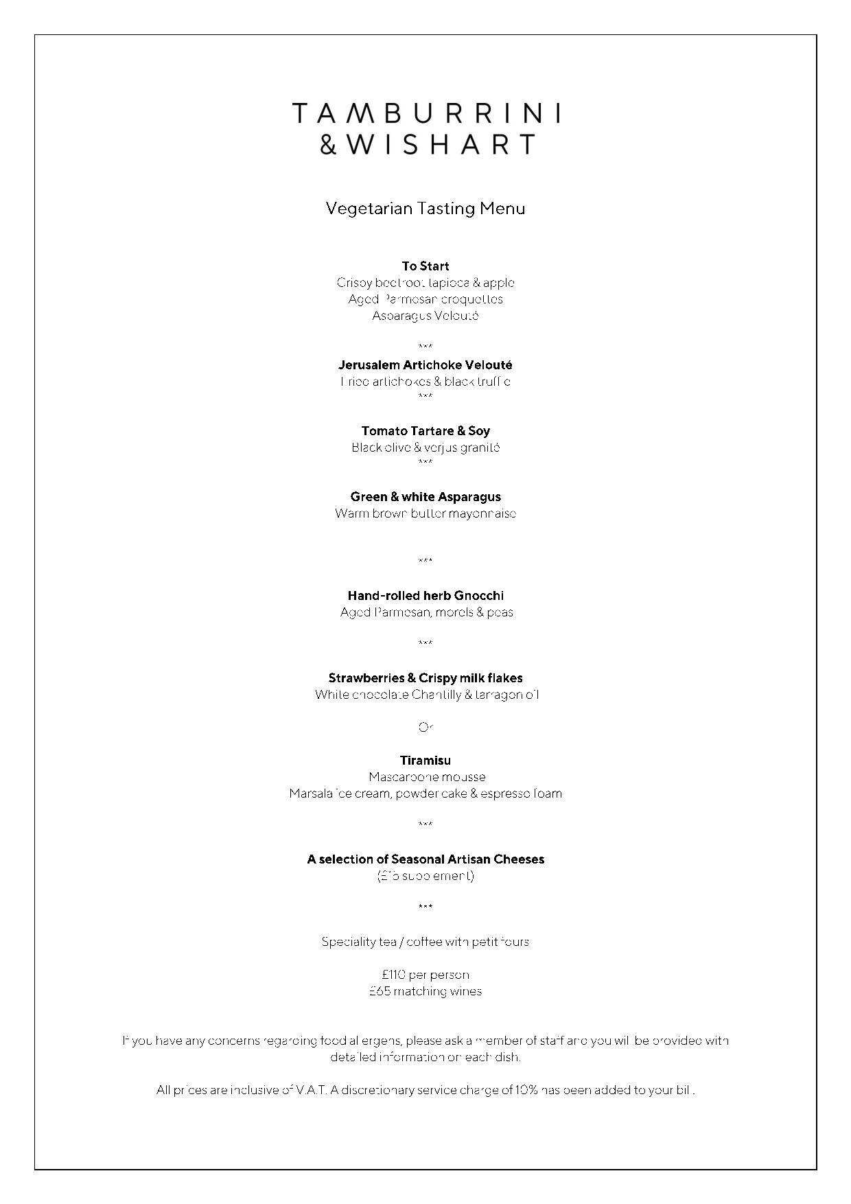 Tamburrini and Wishart vegetarian menu