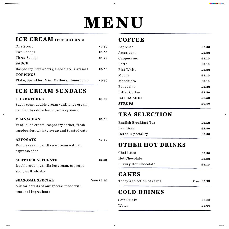 Gladstone's land ice cream parlour menu