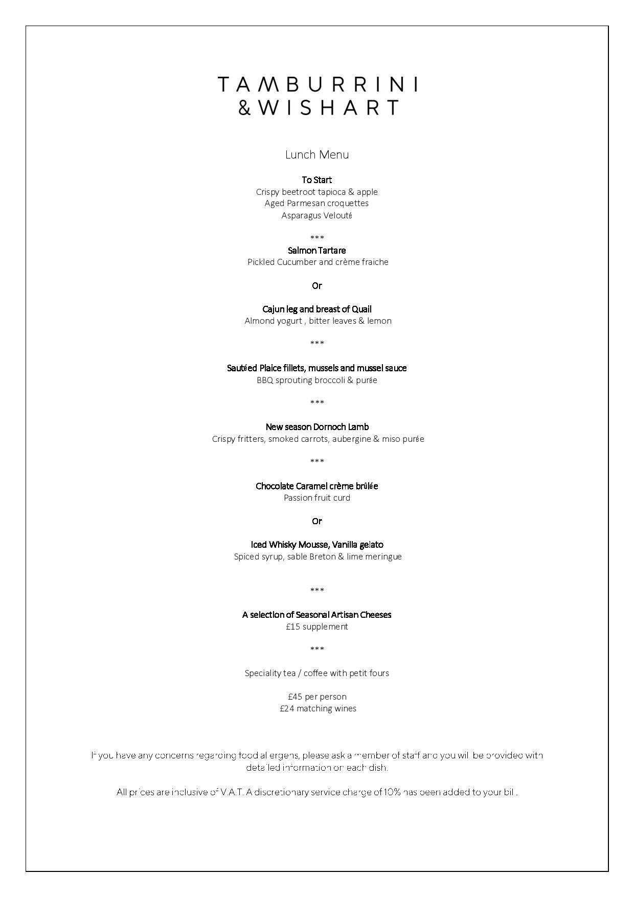 Tamburrini and Wishart lunch menu
