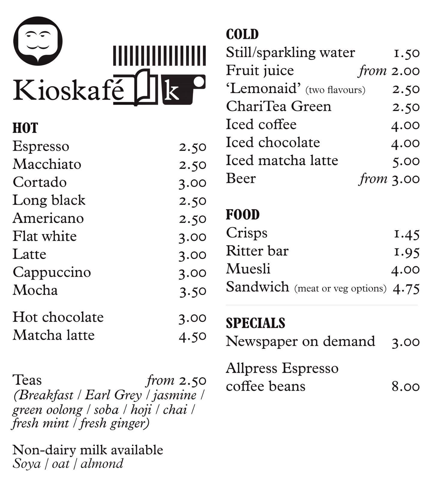 KiosKafe London menu