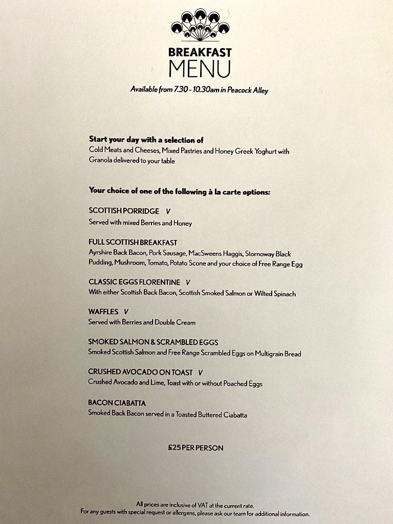 the caledonian Waldorf Astoria Edinburgh breakfast menu
