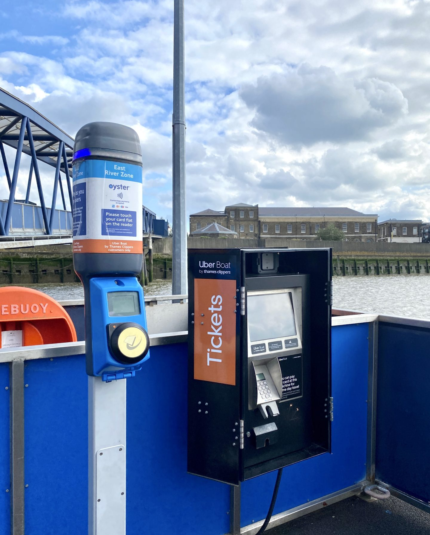 uber boat by thames clipper ticket machine