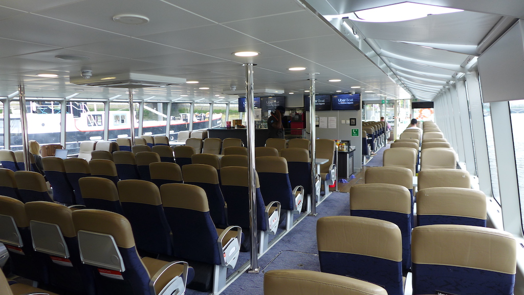 indoor seating uber boat by thames clippers
