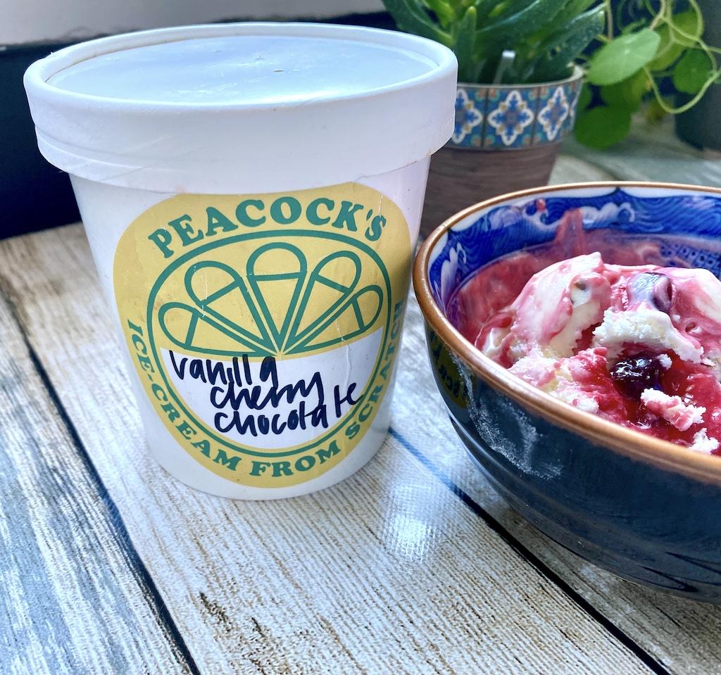peacocks ice cream vanilla cherry chocolate in bowl