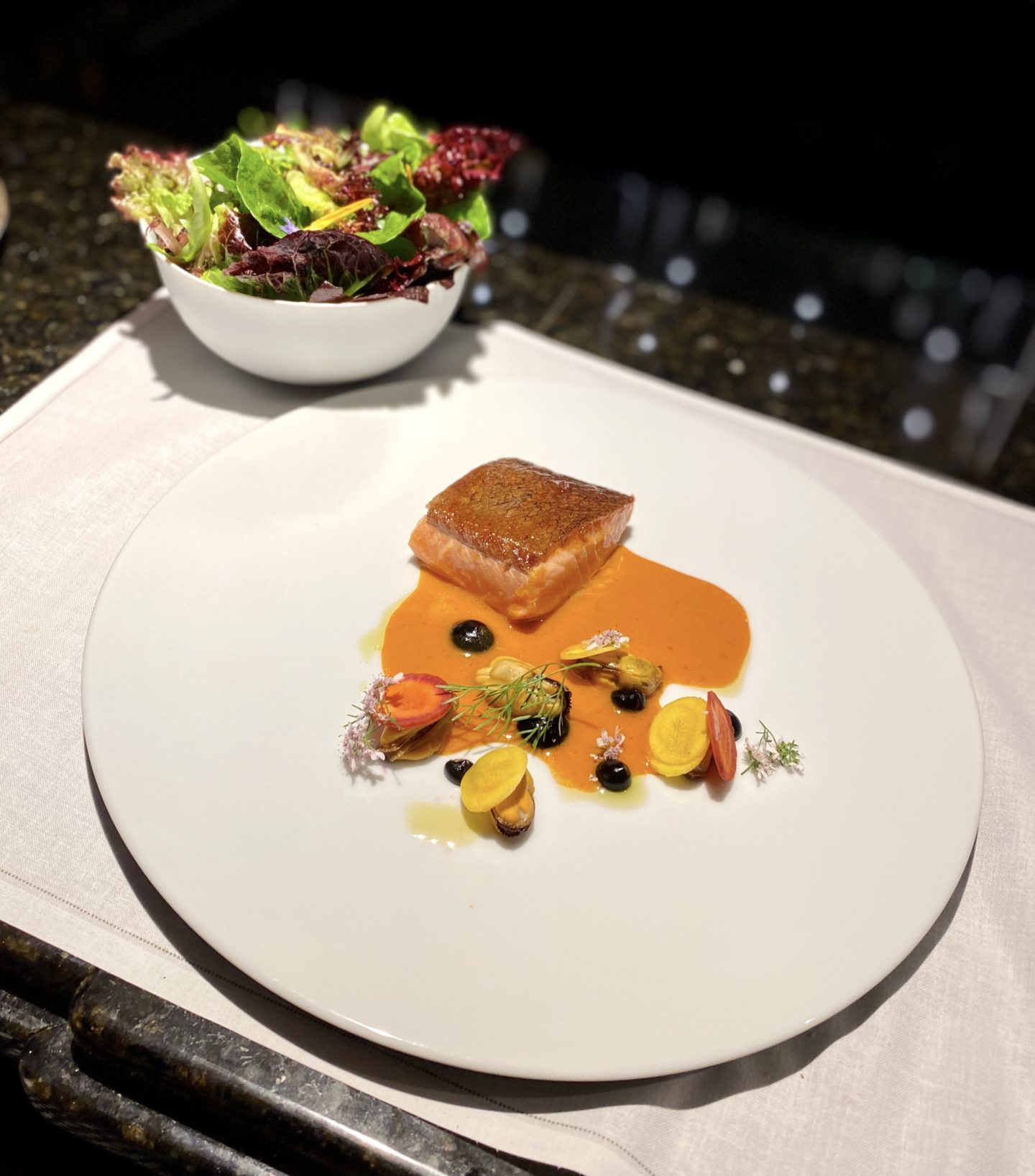 Loch Etive Sea Trout, Carrot, Mussel served with Tomnah'a Organic Leaf Salad.